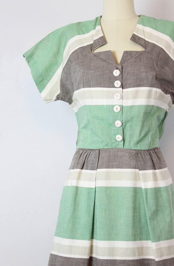vintage 40s dress / 1940s striped cotton dress / … - image 5