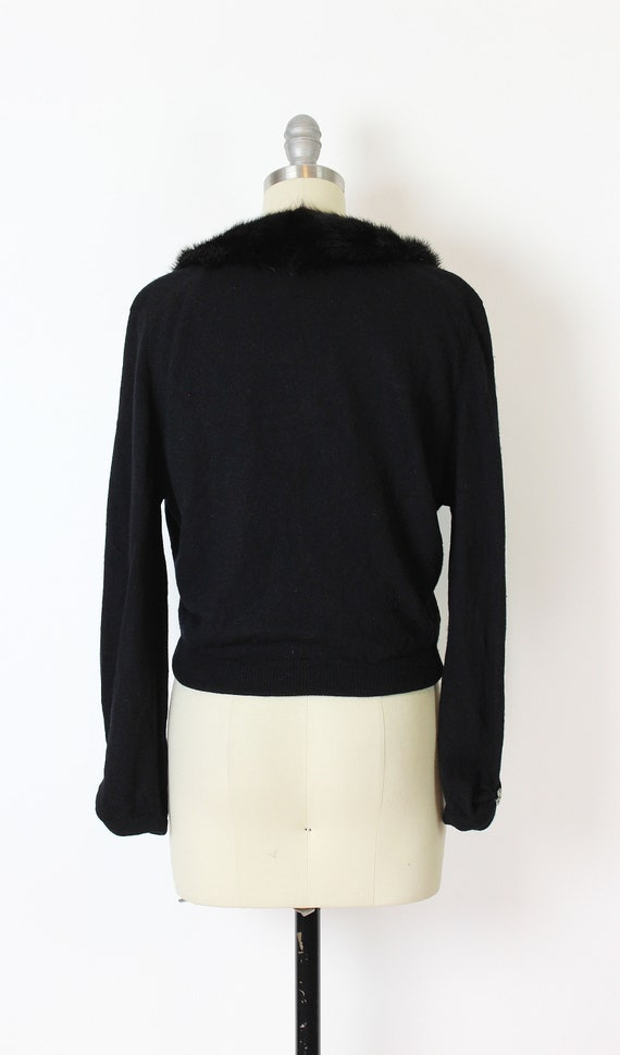vintage 50s cardigan / 1950s cashmere fur collar … - image 4