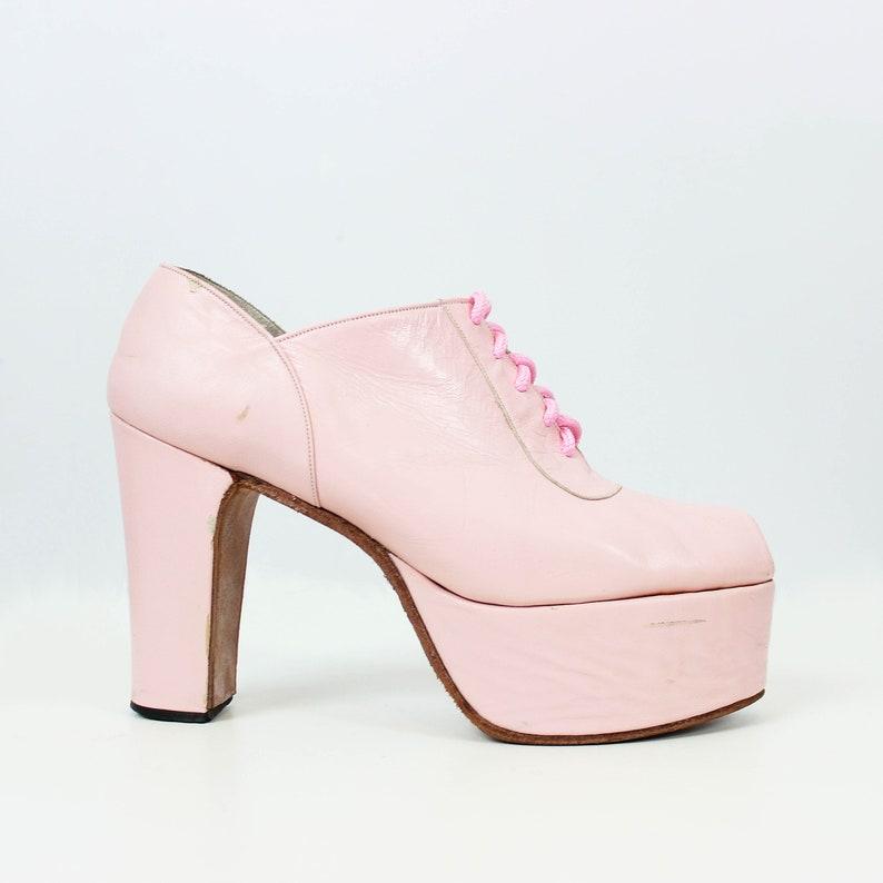 a8fe8c500f5a2 vintage 1970s platform shoes / 1970s pink leather platform shoes / peeptoe  platform heels / sky high glam pink shoes / rare platform shoes