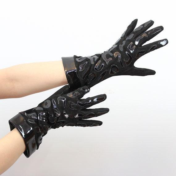 vintage VALENTINO gloves / 1980s patent leather su