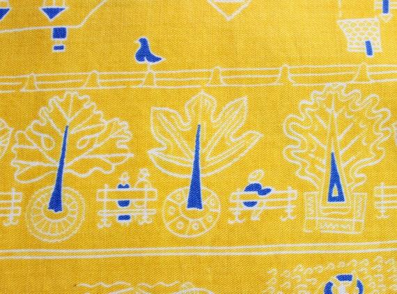vintage 1950s novelty print skirt / 1950s yellow … - image 8