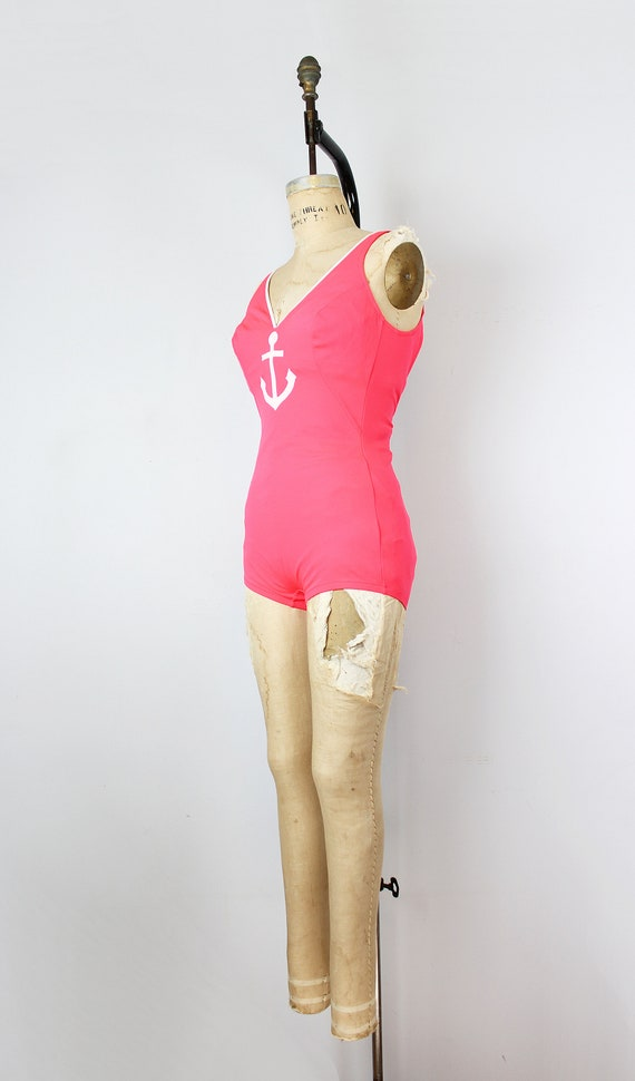vintage 70s swimsuit / 1970s novelty anchor swims… - image 3