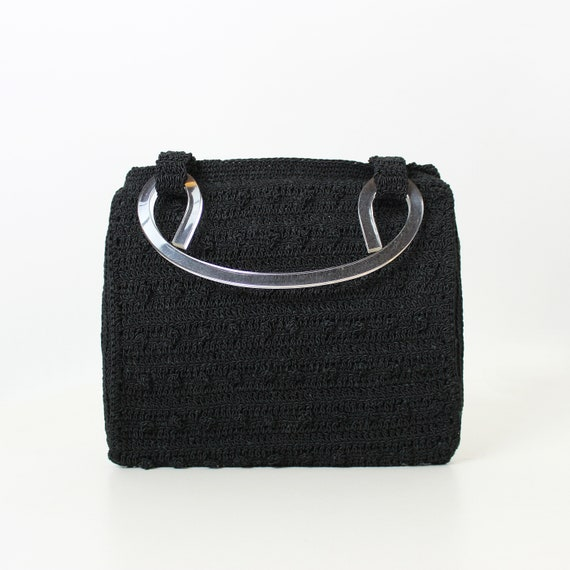 vintage 40s purse / 1940s black corde clutch purse