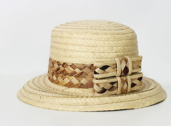 vintage straw sun hat / 1980s natural straw summe… - image 5