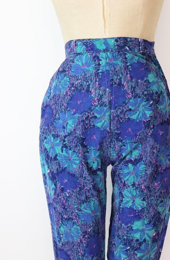 vintage 50s pants / 1950s floral corduroy pants /… - image 5