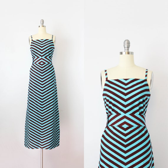 vintage 1960s MARIMEKKO dress / 1960s chevron stri