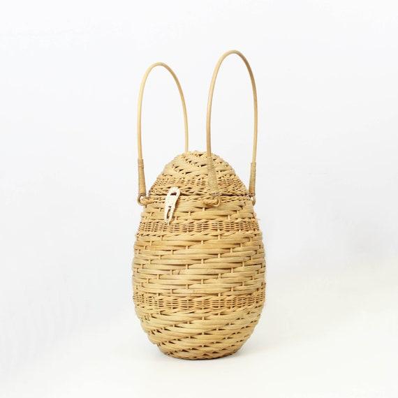 vintage wicker basket bag / 1960s novelty wicker b