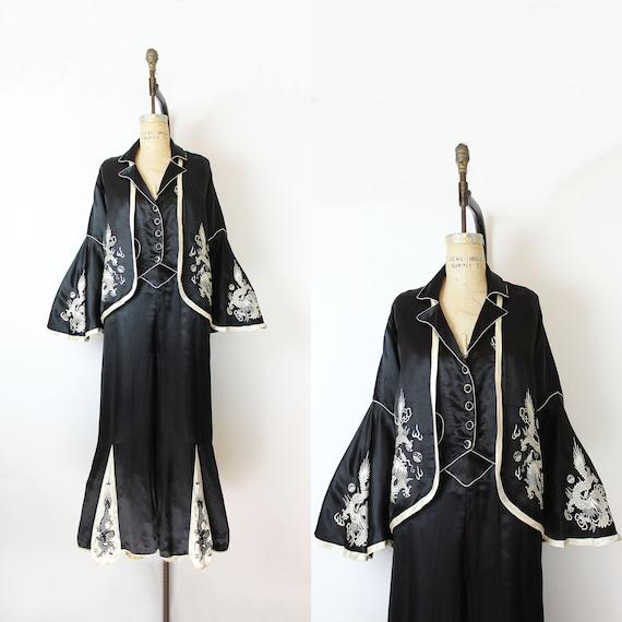 vintage 30s pajamas / 1930s Chinese silk pajama se