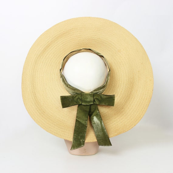 vintage 40s hat / 1940s straw sun hat / 1940s ope… - image 6