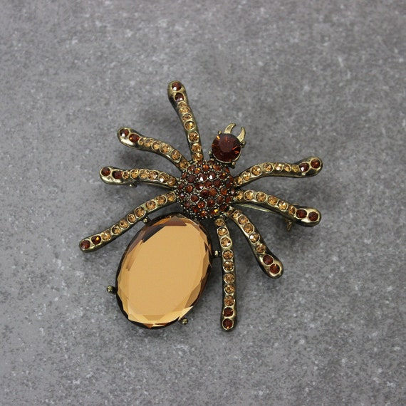 vintage spider brooch / 1980s rhinestone spider pi