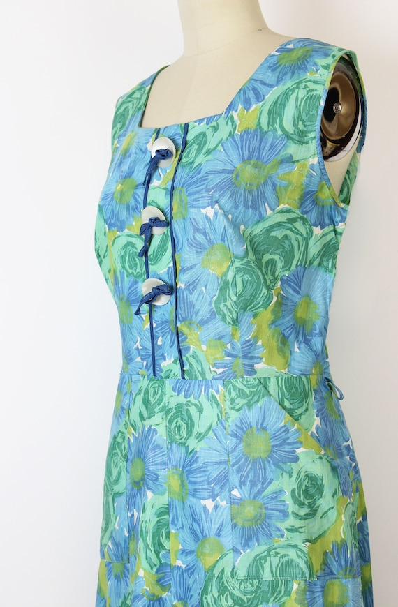 vintage 50s dress / 1950s floral sundress / blue … - image 6