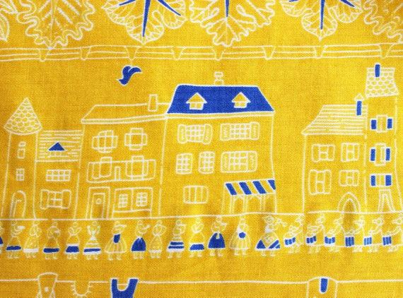 vintage 1950s novelty print skirt / 1950s yellow … - image 9
