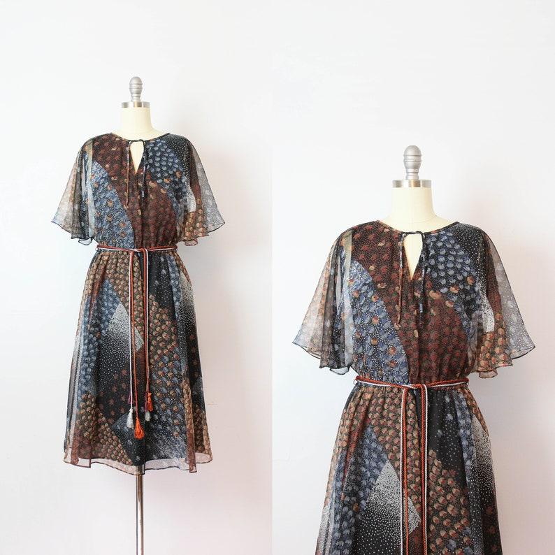 7fc0f329362e Vintage 70s dress / 1970s dark floral chiffon dress / flutter | Etsy