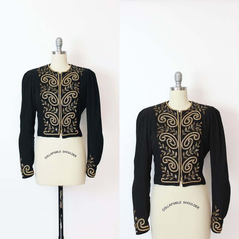 vintage 40s jacket  1940s beaded sequined jacket  1940s zip front jacket  black rayon crepe jacket  art deco jacket