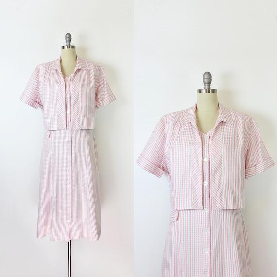 vintage 50s dress / 1950s gingham cotton dress set