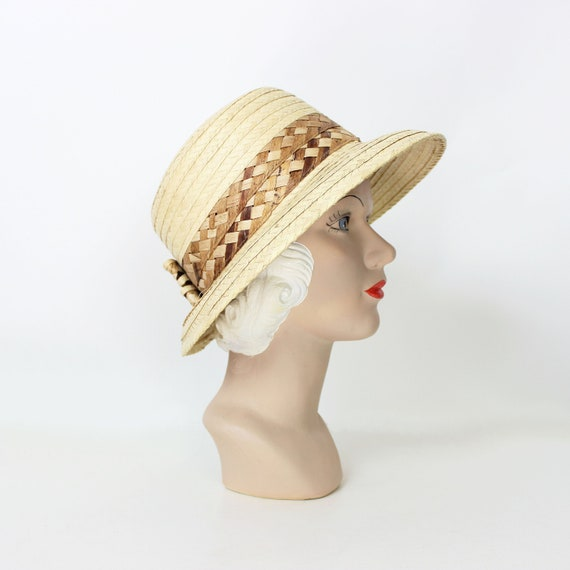 vintage straw sun hat / 1980s natural straw summe… - image 1