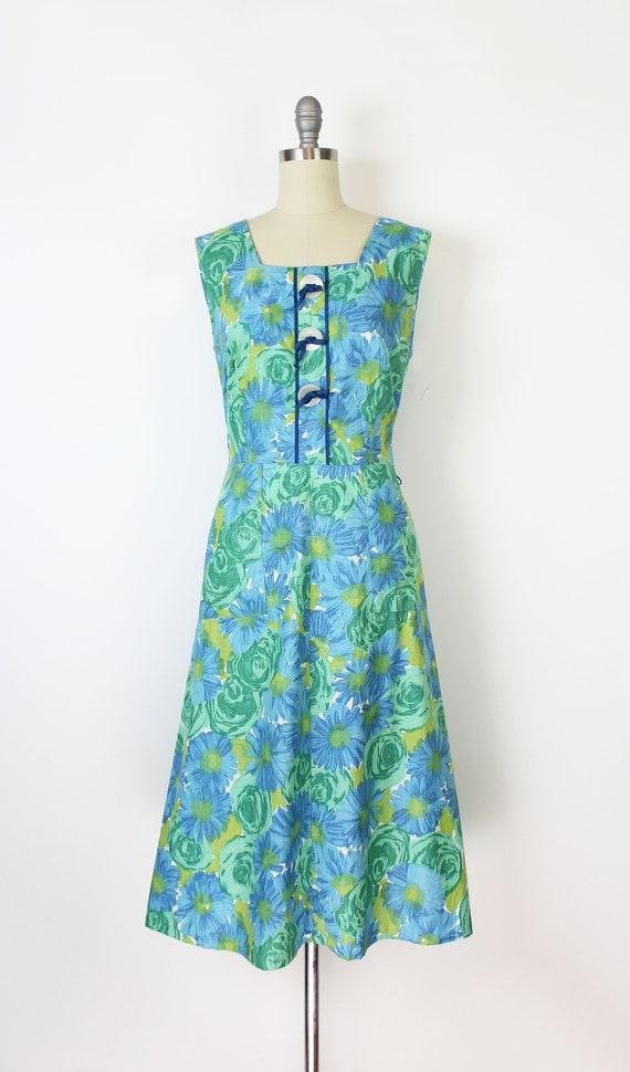 vintage 50s dress / 1950s floral sundress / blue … - image 2