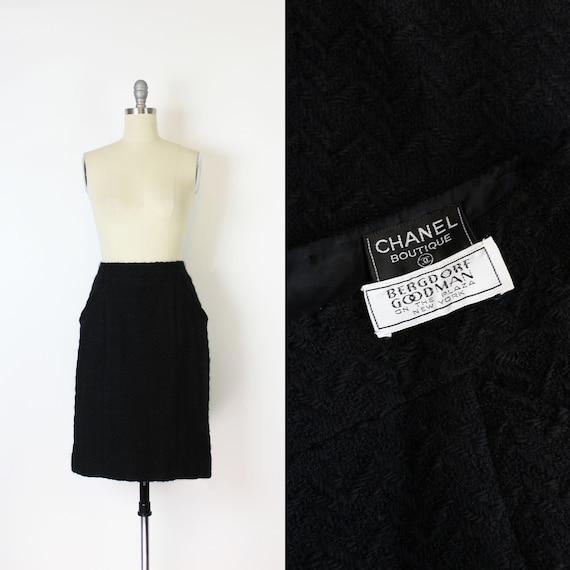 vintage 90s CHANEL skirt / 1990s Chanel wool skirt