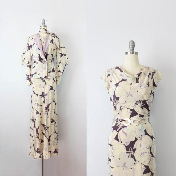 vintage 30s dress / 1930s floral silk dress / rare
