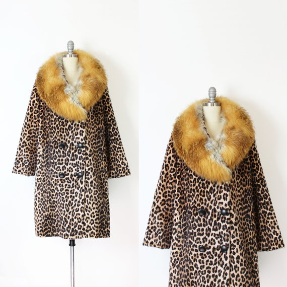 vintage 50s leopard coat / 1950s leopard print coa