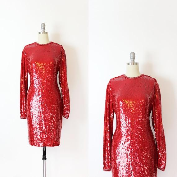 vintage 80s dress / 1980s NAEEM KHAN dress / red s
