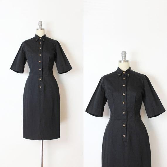 vintage 50s dress / 1950s black cotton wiggle dres