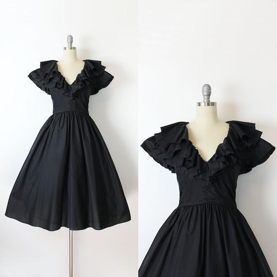 vintage 80s dress / 1980s black party dress / blac