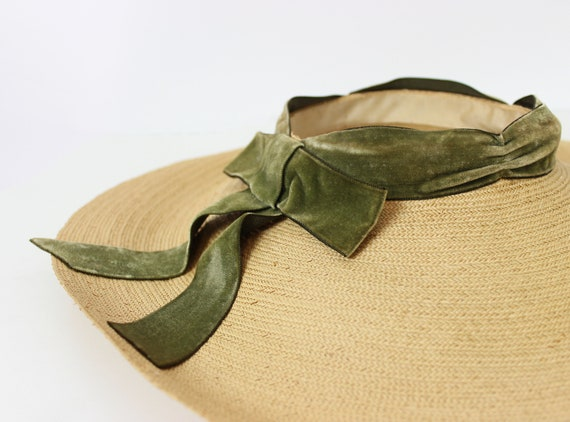 vintage 40s hat / 1940s straw sun hat / 1940s ope… - image 7
