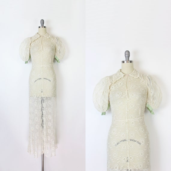 vintage 30s dress / 1930s sheer net mesh dress / 1