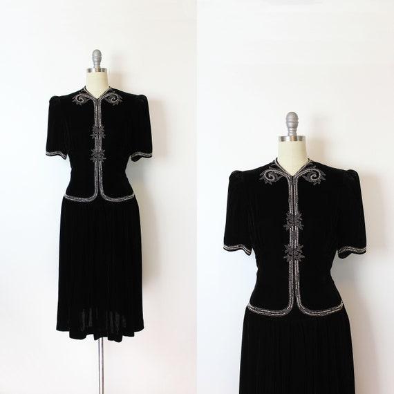 vintage 40s dress / 1940s beaded black velvet dres