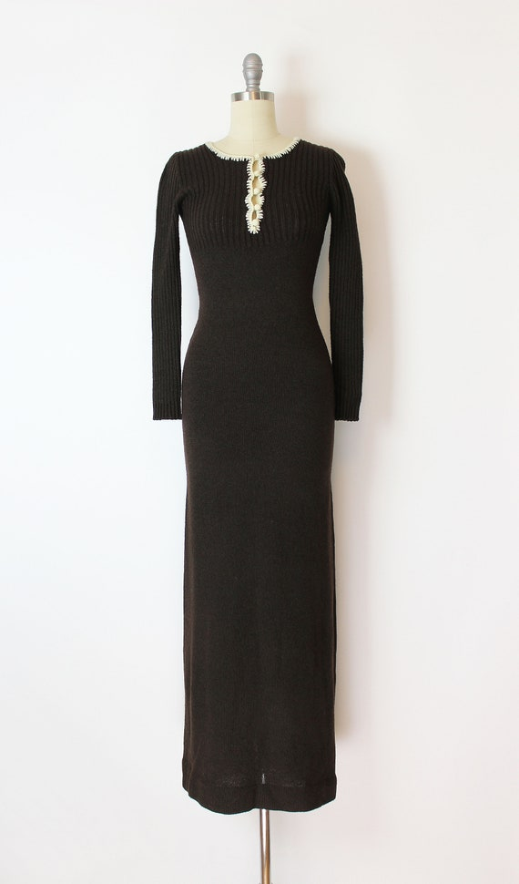 vintage 70s dress / 1970s knit maxi dress / 70s f… - image 2