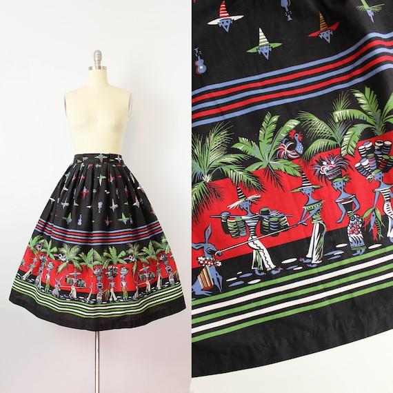 vintage 50s novelty print skirt / 1950s border pri