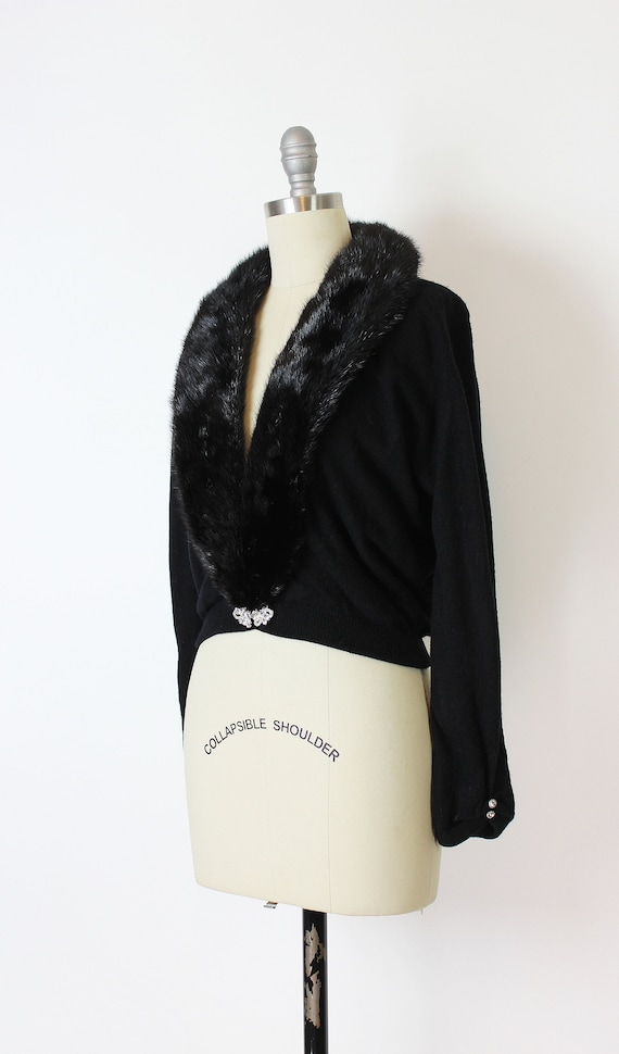 vintage 50s cardigan / 1950s cashmere fur collar … - image 3