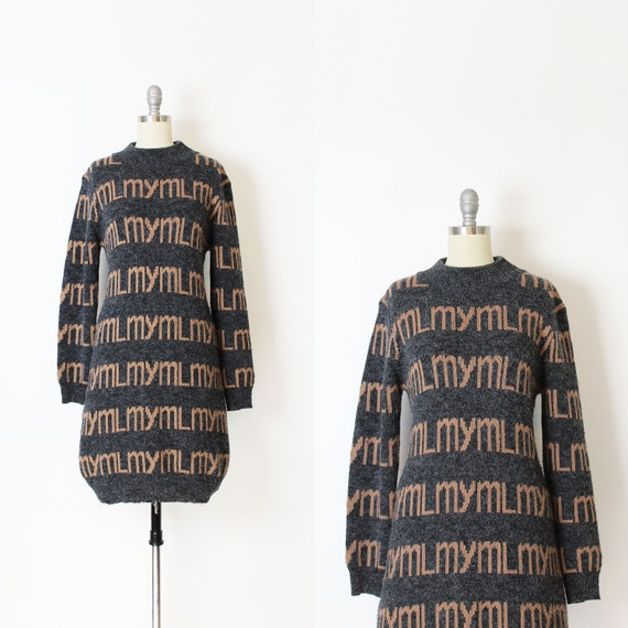 vintage sweater dress / 1980s novelty sweater dres