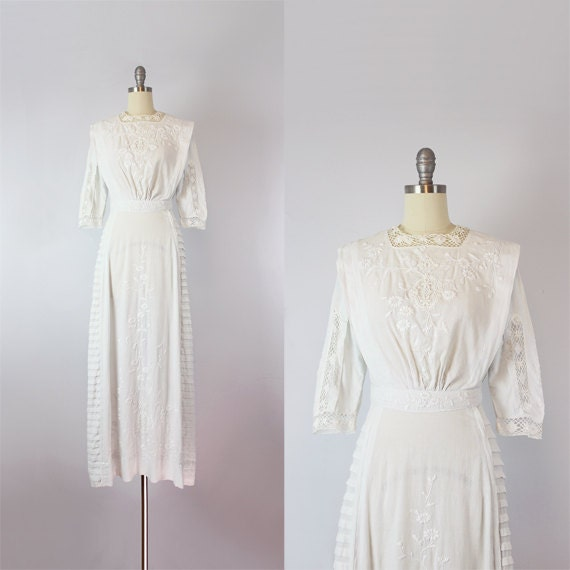 antique white cotton dress / 1910s lawn dress / Ed