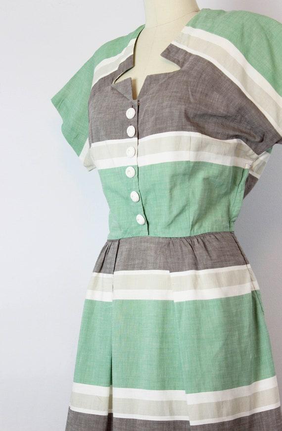 vintage 40s dress / 1940s striped cotton dress / … - image 6