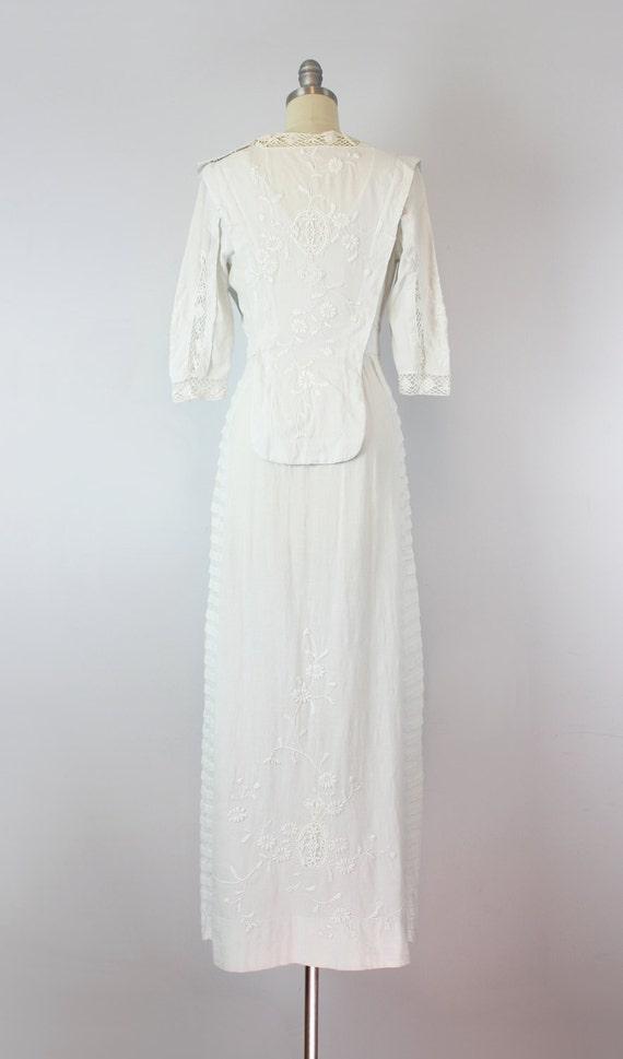 antique white cotton dress / 1910s lawn dress / E… - image 4