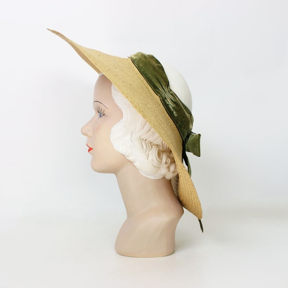 vintage 40s hat / 1940s straw sun hat / 1940s ope… - image 5