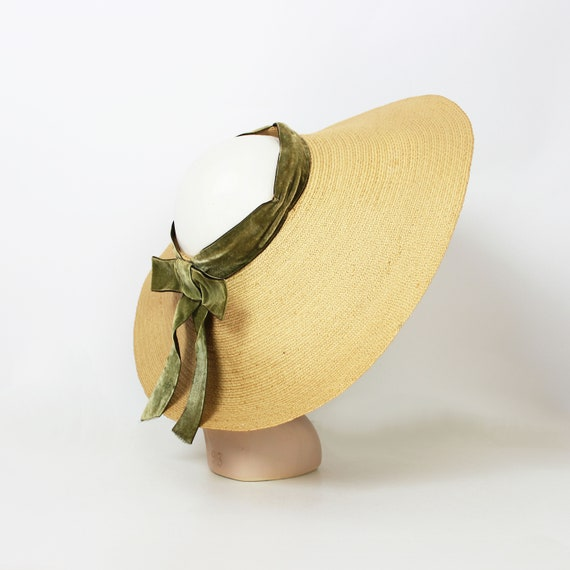 vintage 40s hat / 1940s straw sun hat / 1940s ope… - image 2