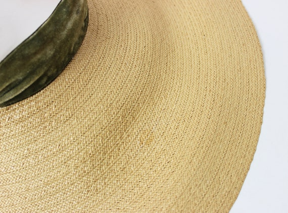 vintage 40s hat / 1940s straw sun hat / 1940s ope… - image 9