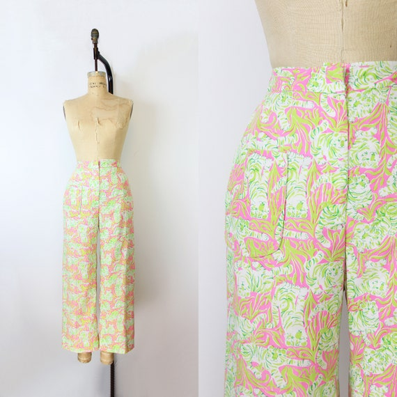 vintage 70s cropped pants / 1970s LILLY PULITZER p