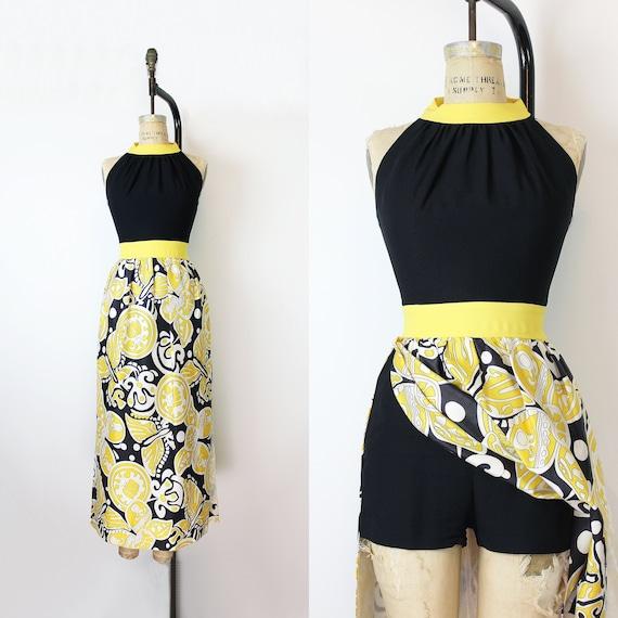 vintage 60s romper dress  / 1960s maxi dress with