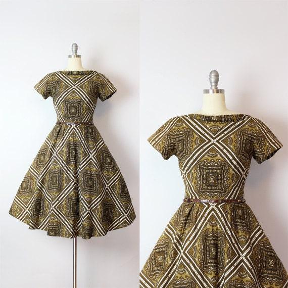 vintage 50s dress / 1950s CAROL CRAIG dress / bark