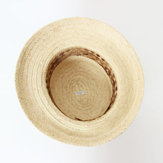 vintage straw sun hat / 1980s natural straw summe… - image 6
