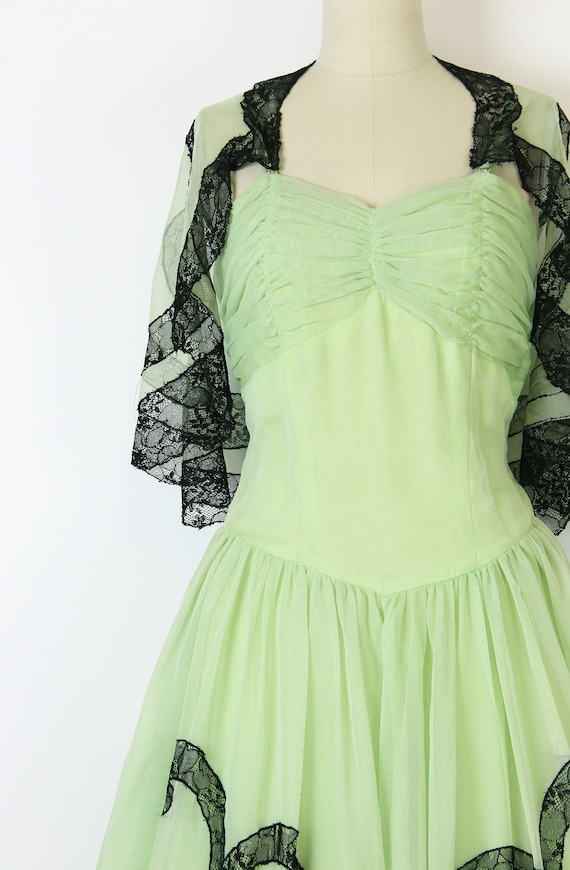 vintage 40s dress set / 1940s green dress shawl /… - image 6