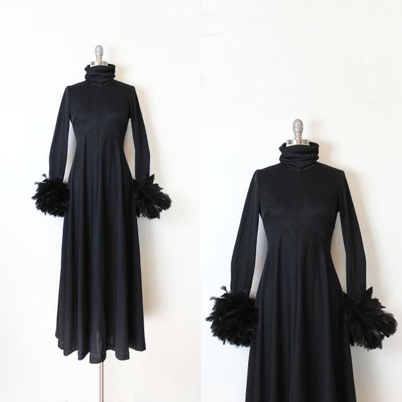 vintage 70s dress / 1970s black feather dress / fe