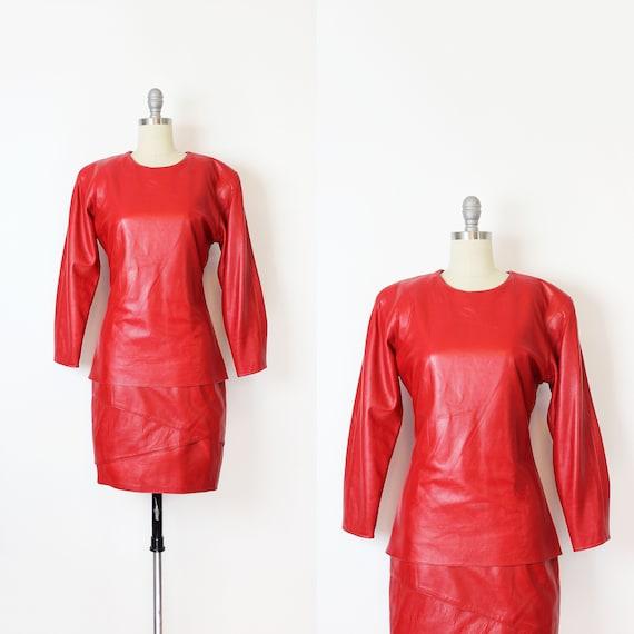 vintage 80s dress / 1980s red leather dress / VAKK
