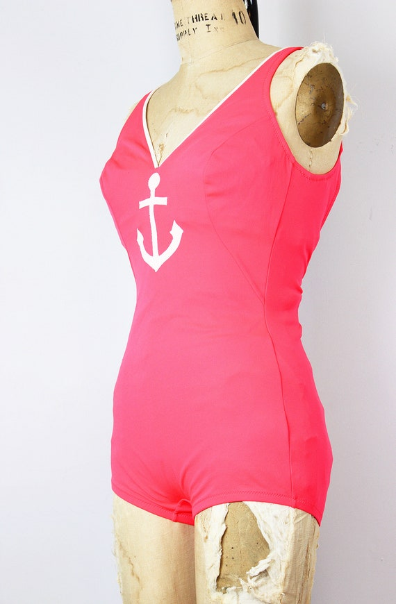 vintage 70s swimsuit / 1970s novelty anchor swims… - image 6