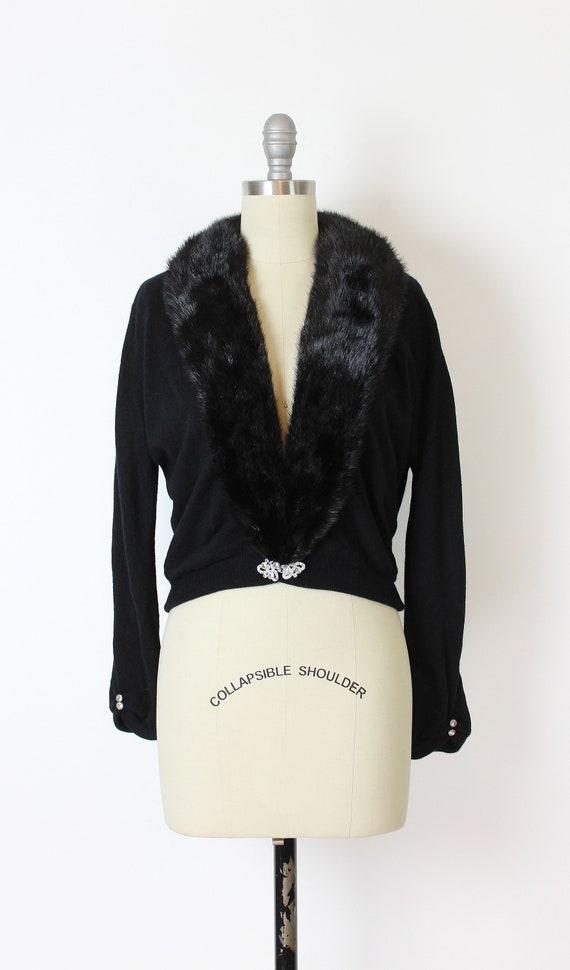 vintage 50s cardigan / 1950s cashmere fur collar … - image 2