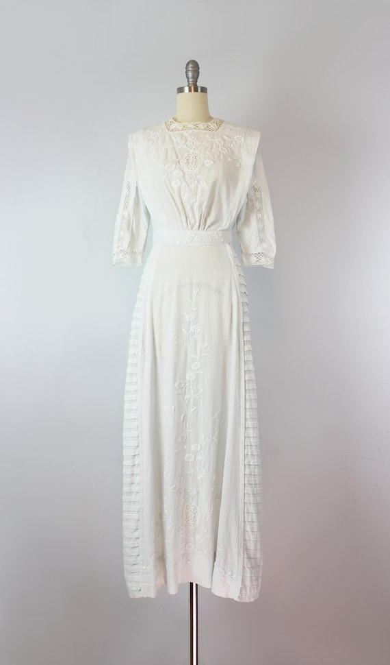 antique white cotton dress / 1910s lawn dress / E… - image 2